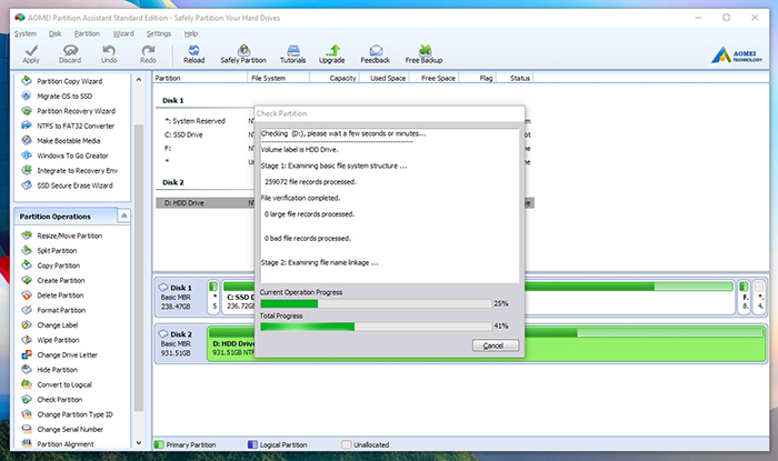 AOMEI Partition Assistant -Speed