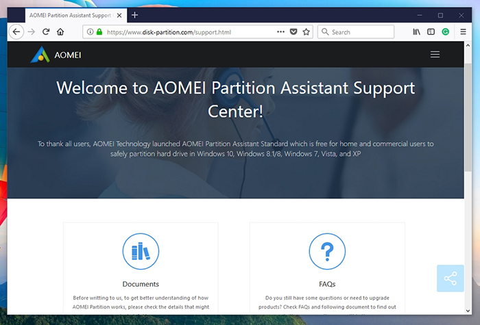 AOMEI Partition Assistant -Support Page