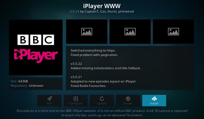 BBC iPlayer Kodi Addon Overview