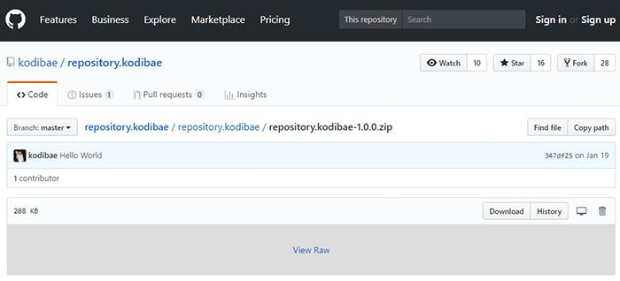 Kodi Bae GitHub Repository ZIP Page