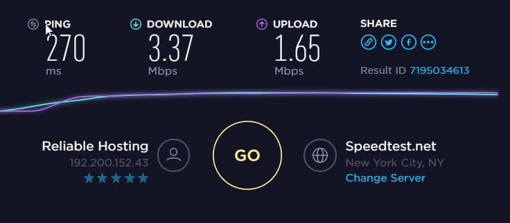 StrongVPN Speed Test US Server