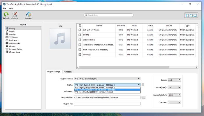 TuneFab Apple Music Converter - Conversion Profiles