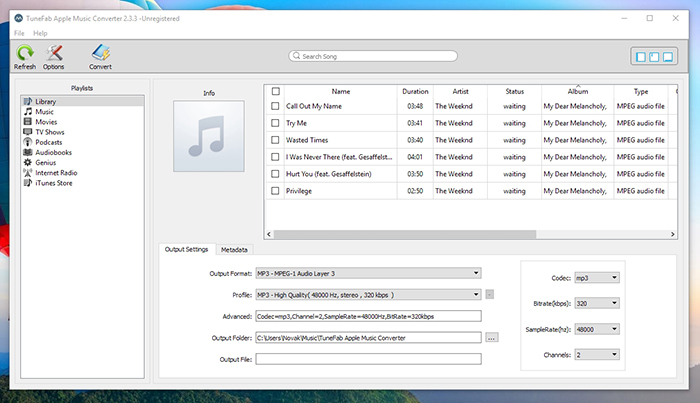 TuneFab Apple Music Converter - User Interface
