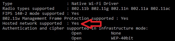 CMD Hosted Network Support
