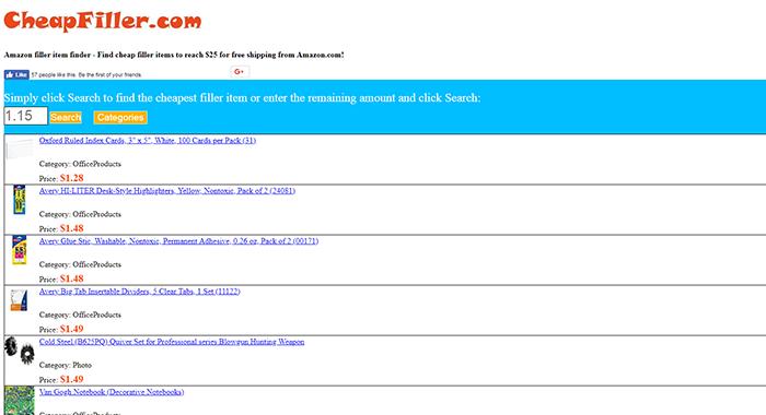 Cheap Filler Website Screenshot
