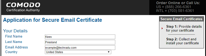 Comode Certificate Application