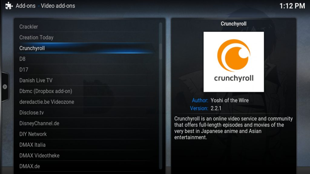 Crunchyroll Kodi Add On