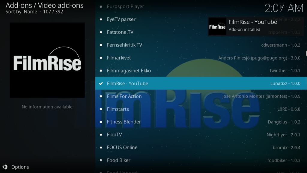 Filmrise Kodi Addon - - Notification