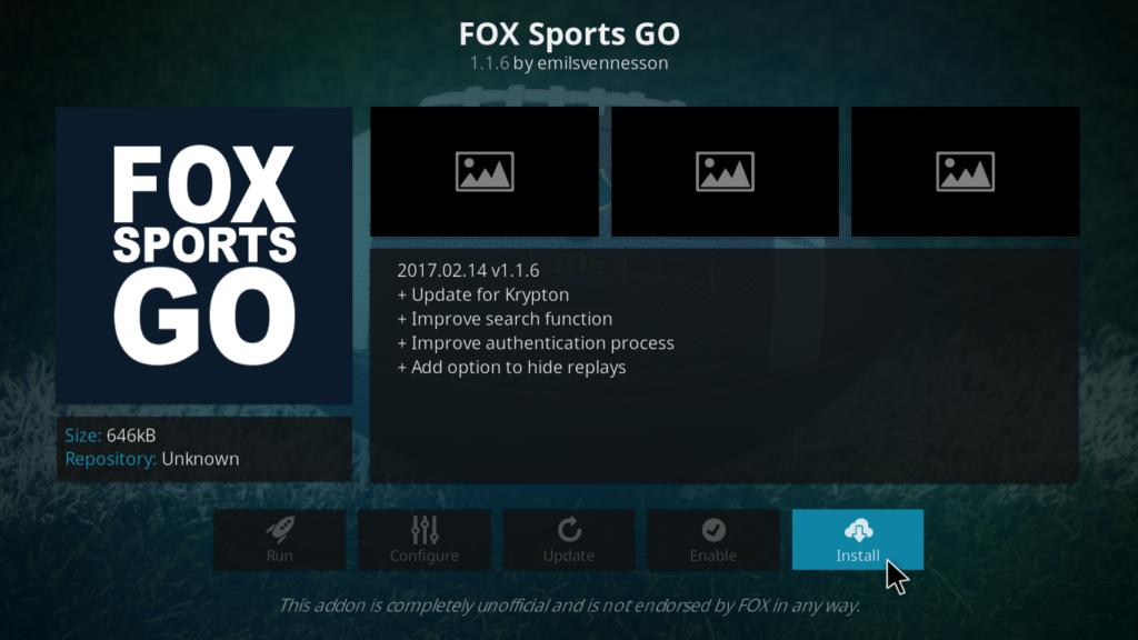 Fox Sports Go Kodi Addon - Install
