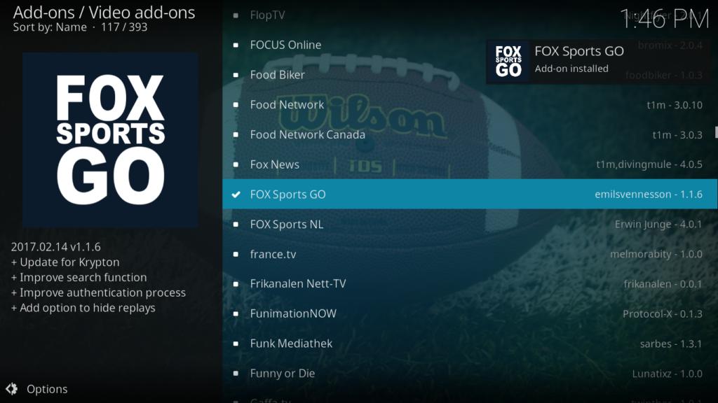 Fox Sports Go Kodi Addon - Notification