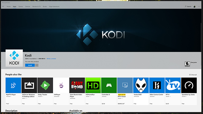 Kodi Windows Store