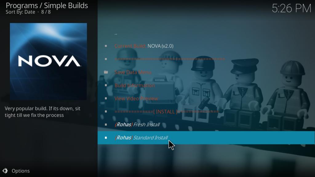 Nova Kodi Build - Standard Install