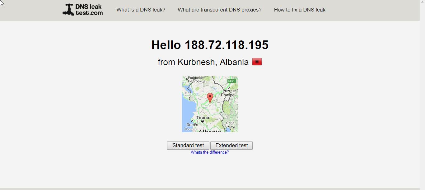 PureVPN DNS Leak test