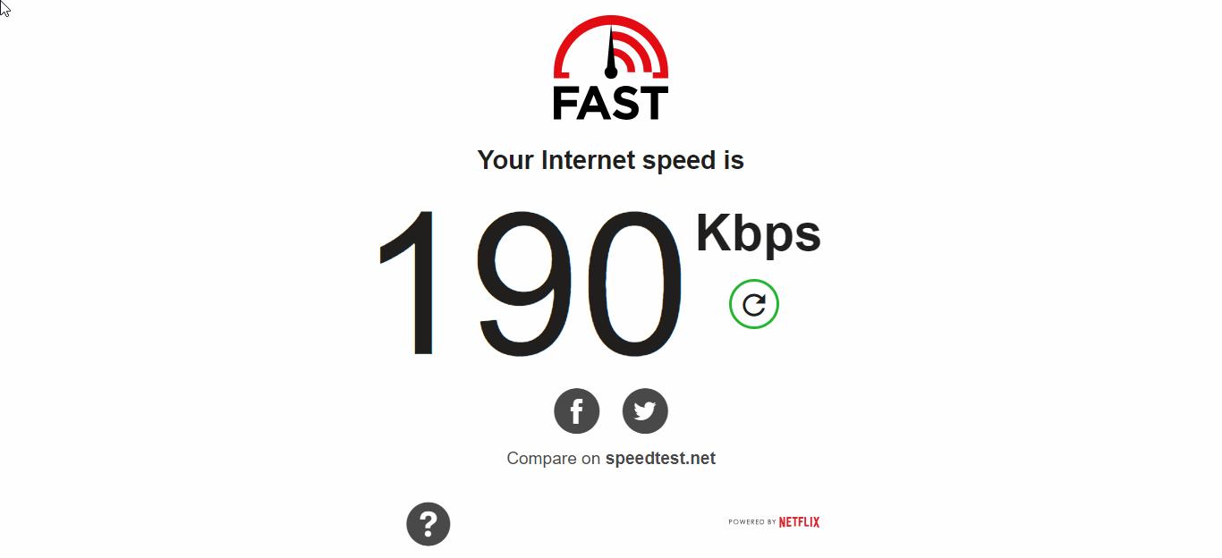 PureVPN Speed test Baseline