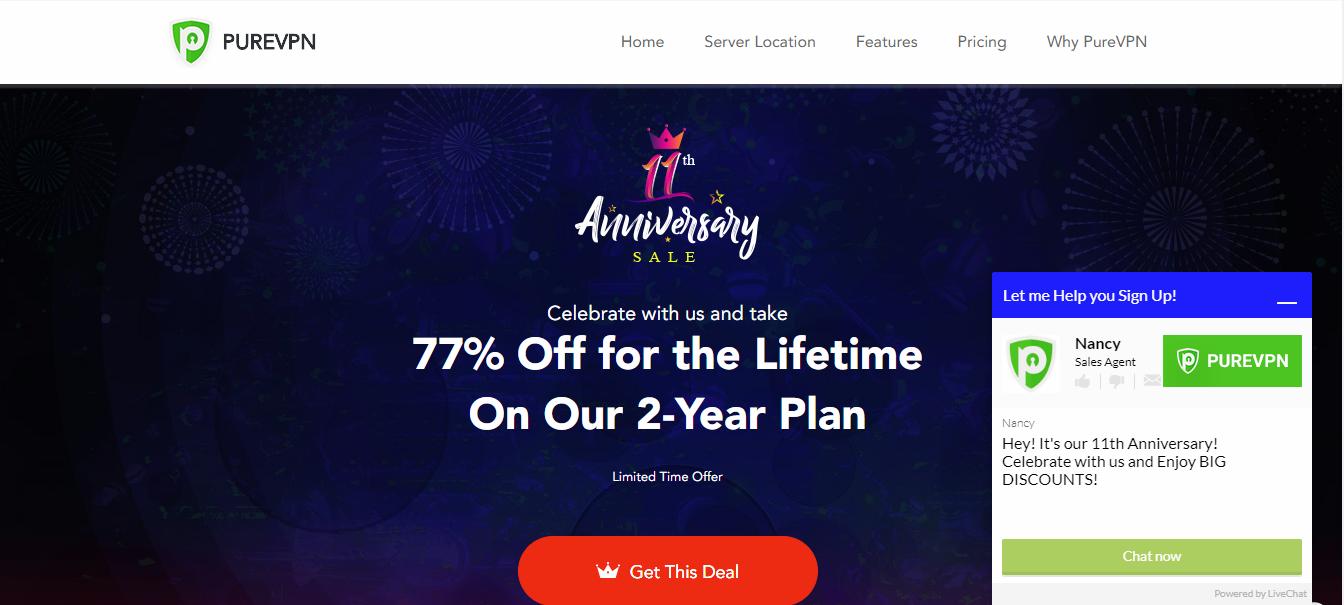 PureVPN homepage