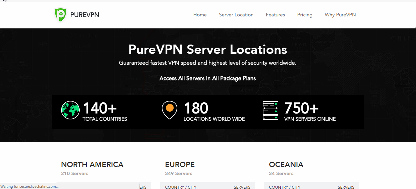 PureVPN Servers Network