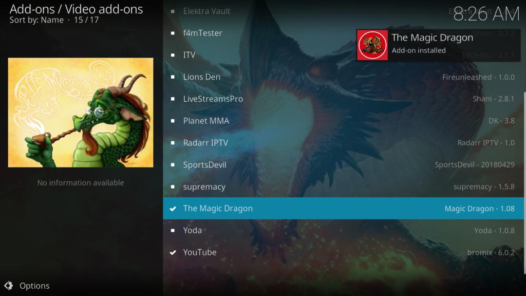 The Magic Dragon Kodi Addon - Notification 2