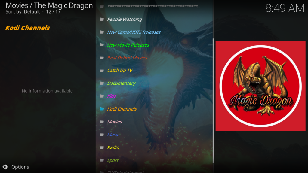 The Magic Dragon Kodi Addon - What to Expect