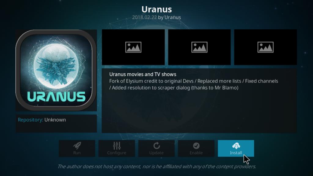 Uranus Kodi Addon - Install