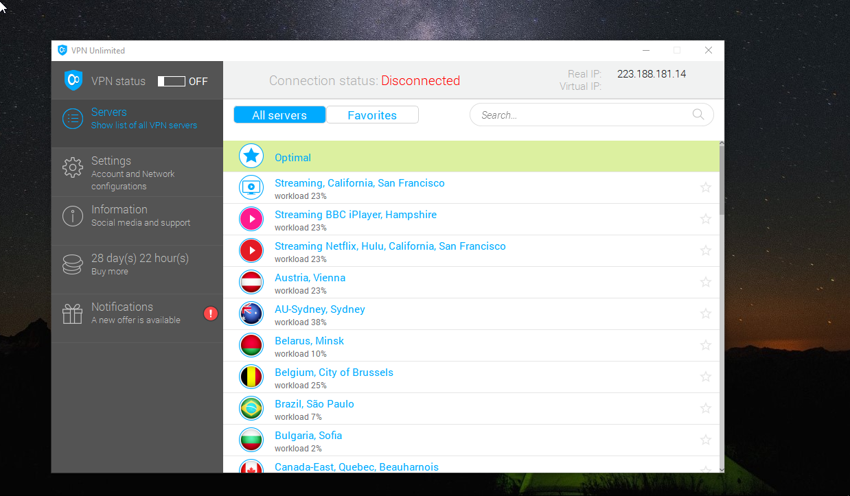 VPN Unlimited Dashboard Servers