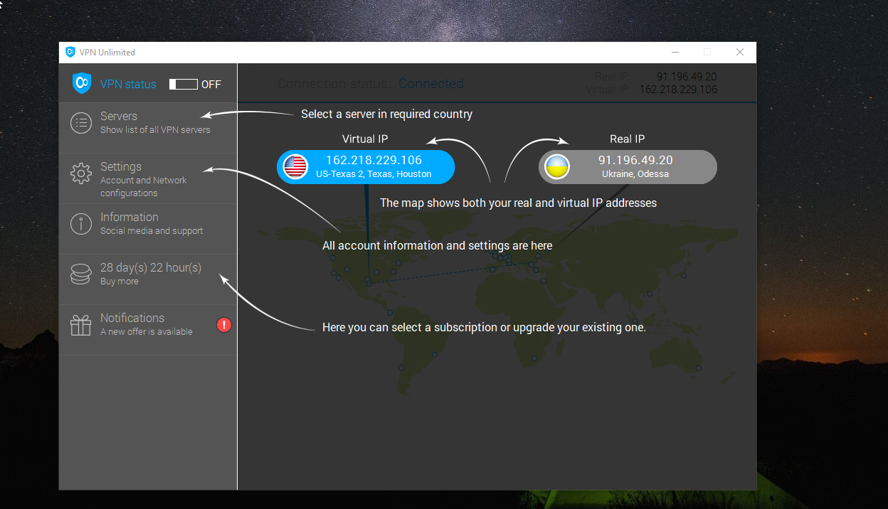 VPN Unlimited Dashboard