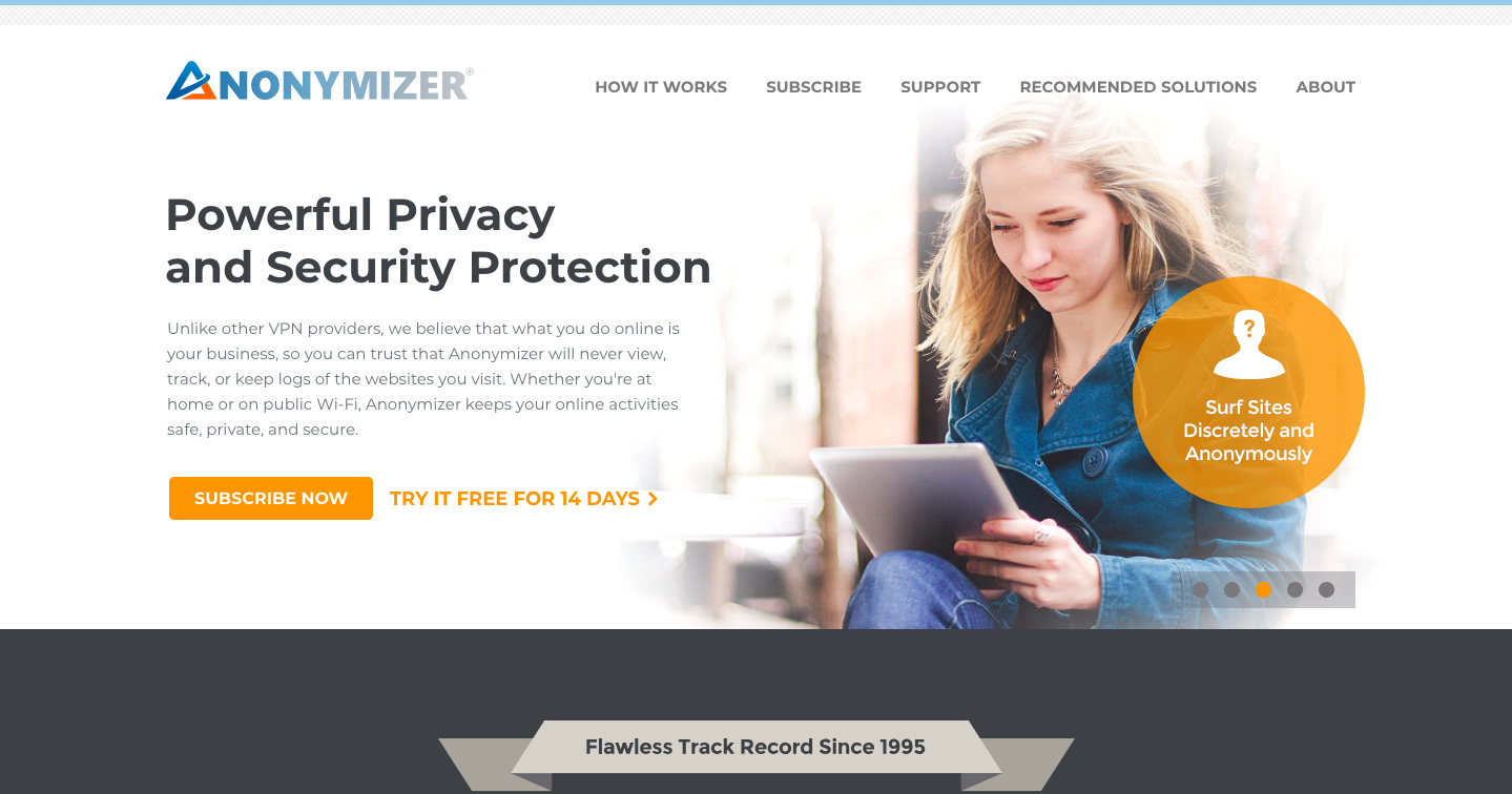 Anonymizer Homepage