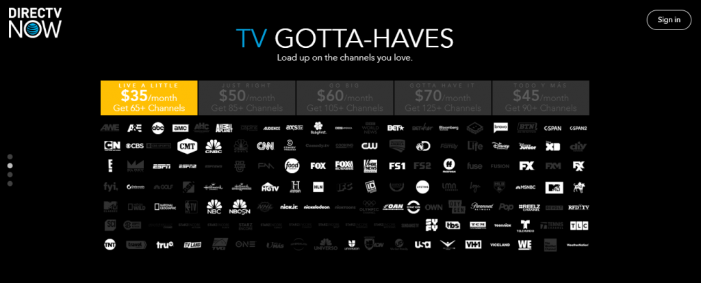 DirecTV Now channels 1