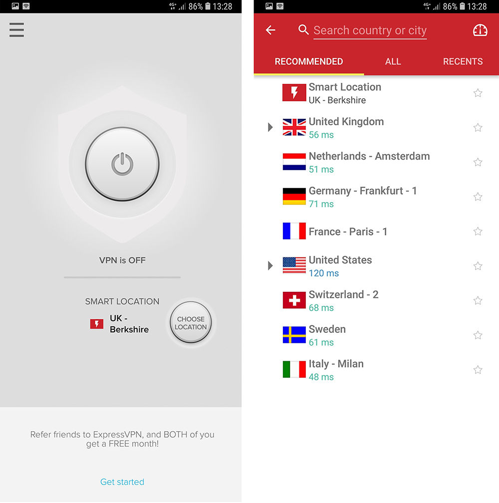 ExpressVPN Android Server Selection