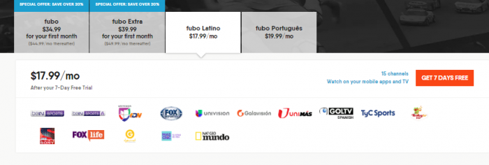 Fubo channels Latino