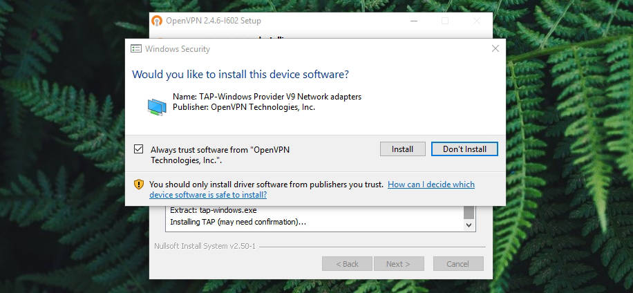 Install TAP Driver Windows