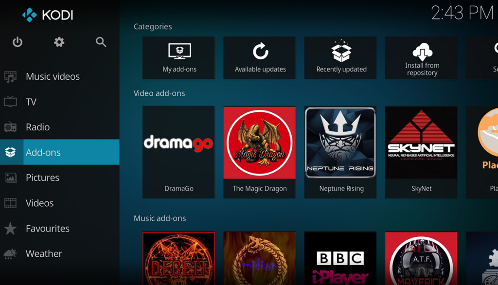 Kodi Addons Section