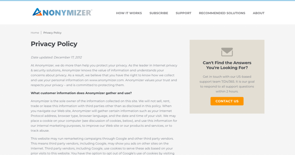 Privacy Policy Anonymizer