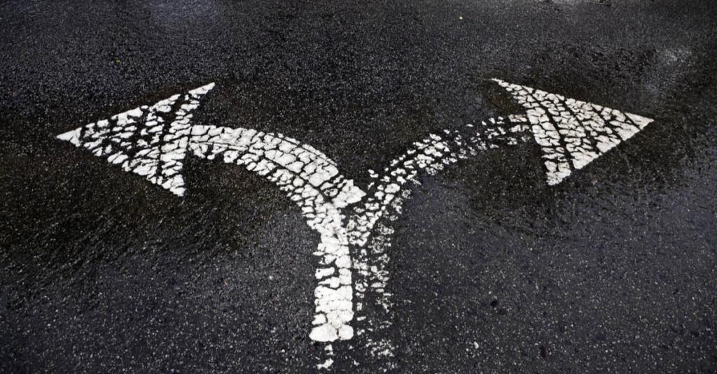 Road Split Sign