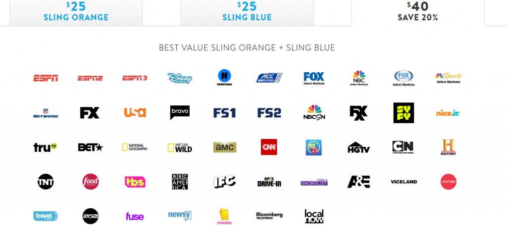 Sling TV Orange + Blue