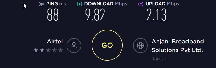Unblockus VPN Speed Test VPN Off