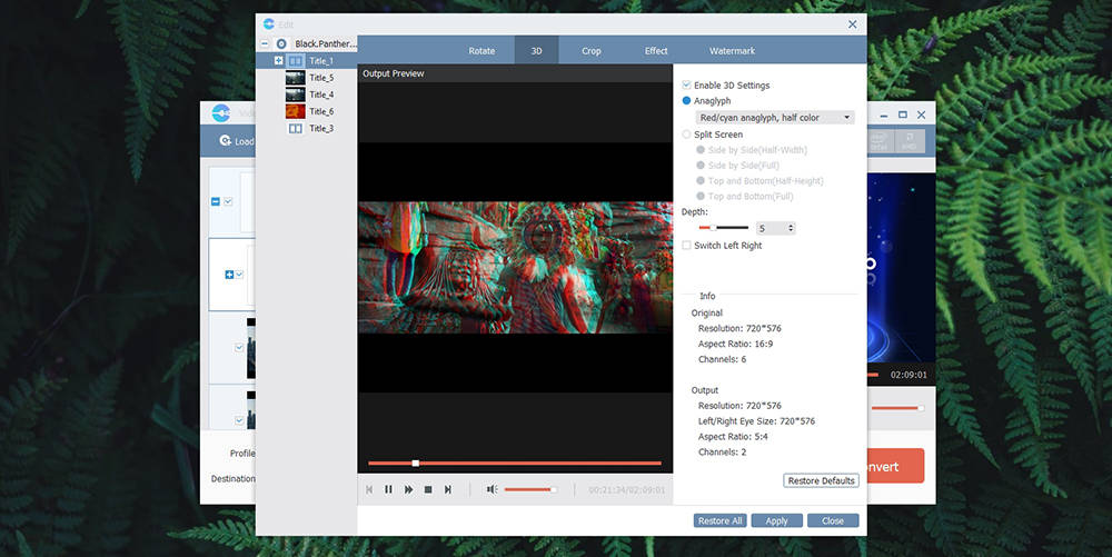VideoSolo BD-DVD Ripper - 3D Options