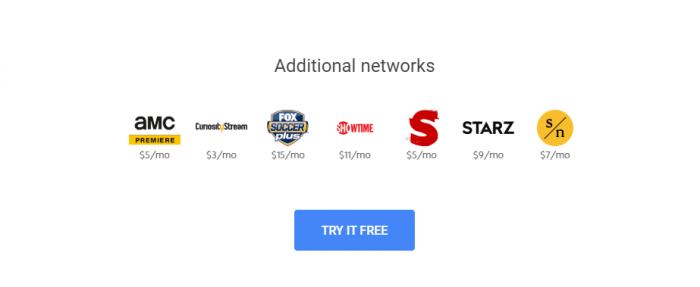 YouTube TV premium channels