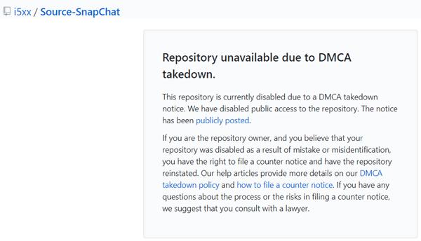 DMCA Takedown Snapchat Source Code