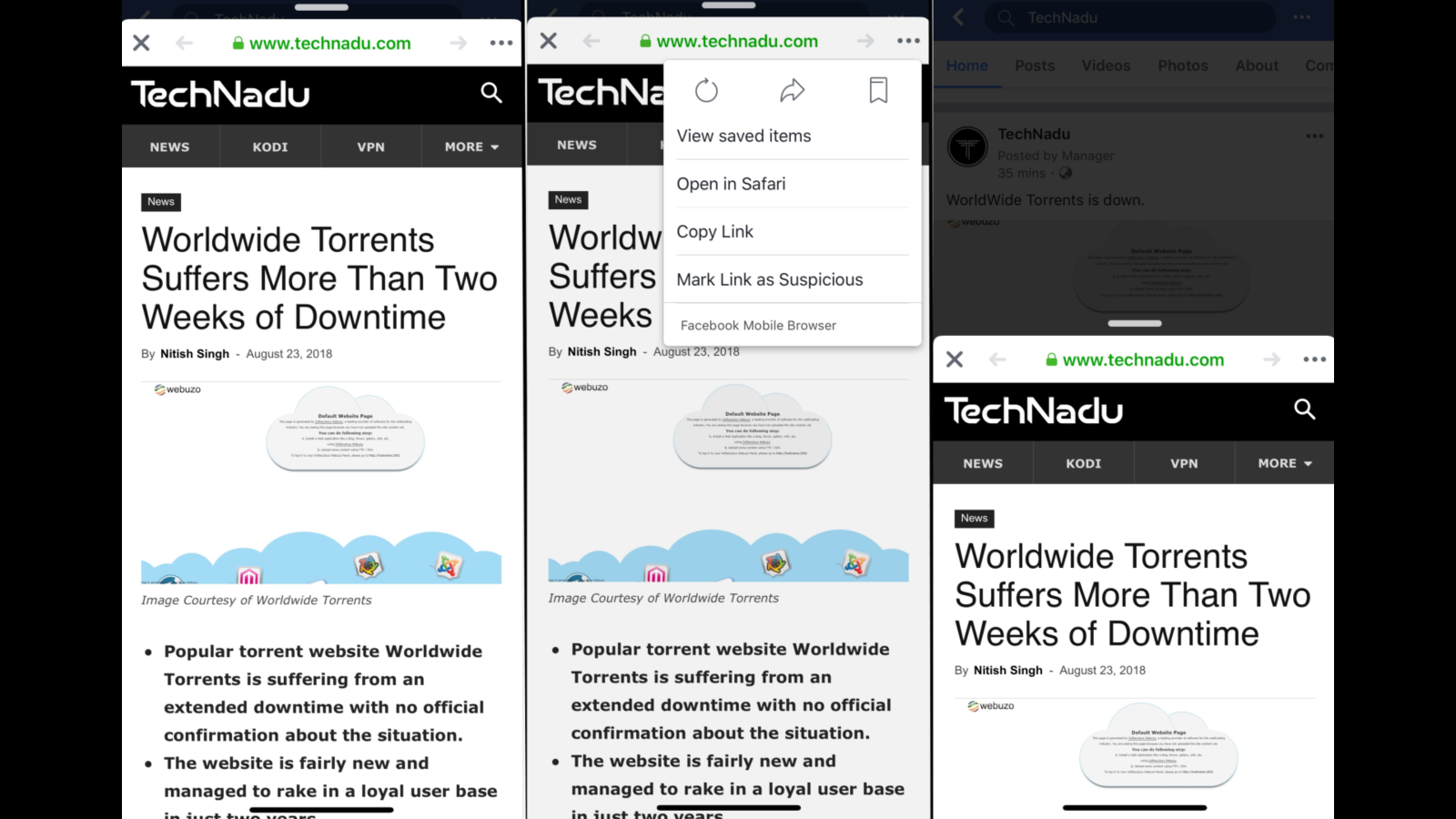 Facebook Tests New In-App Browser Feature on iOS - TechNadu