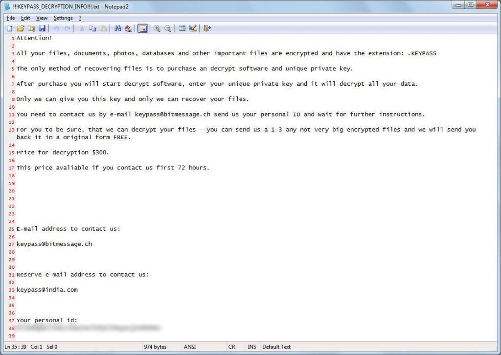 KeyPass Ransom Note