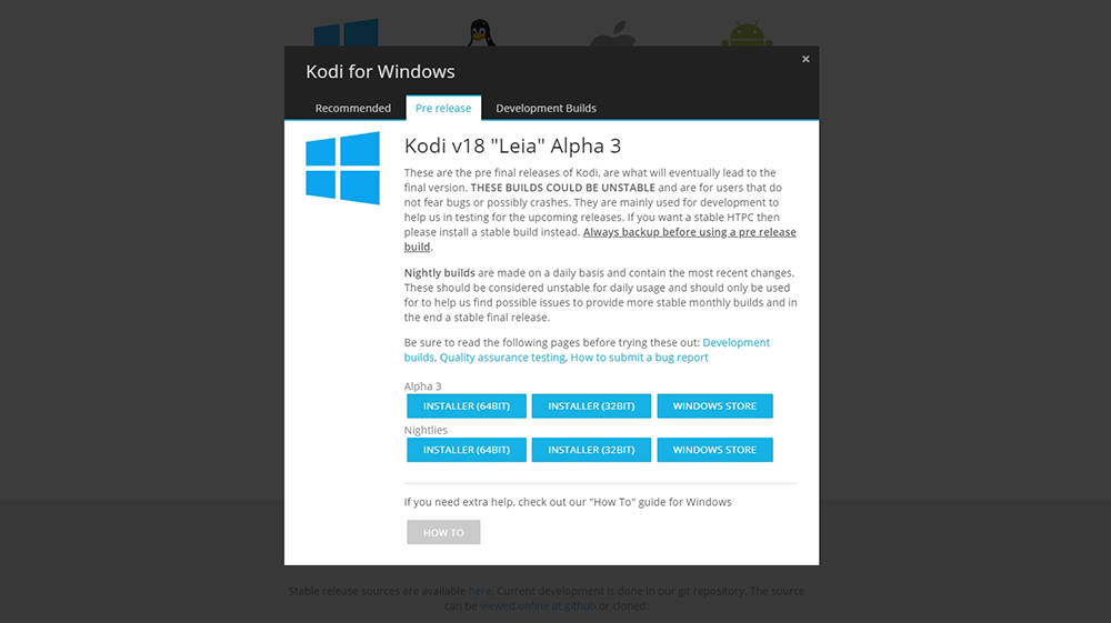 Kodi 18 Alpha 3 Windows Download