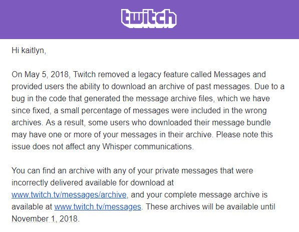 Twitch Messages Bug Email