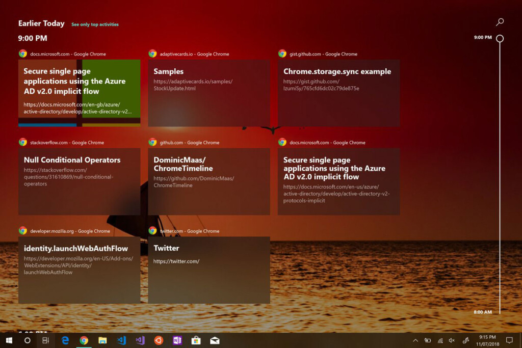 Windows Timeline Support Chrome Extension