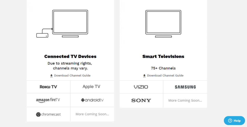 Part of Pluto TV supported devices