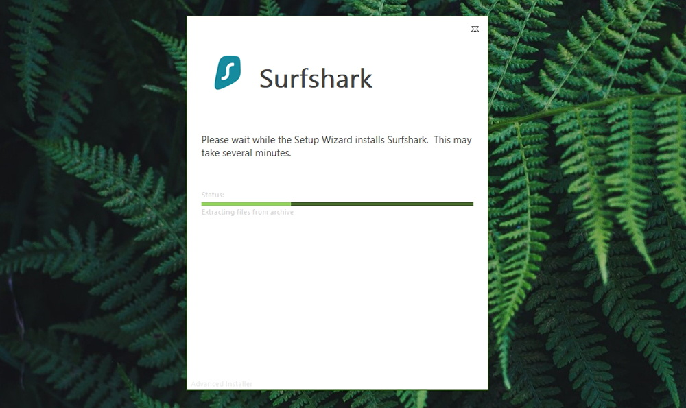 Surfshark Installation in Progress