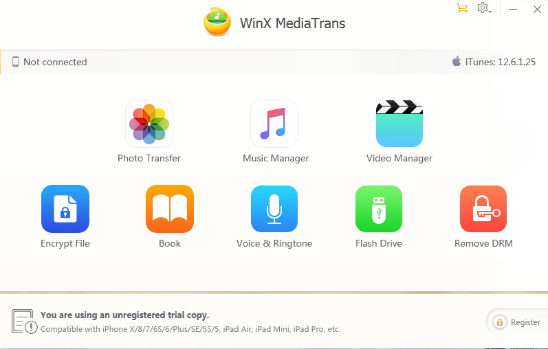 WinX MediaTrans Home Screen