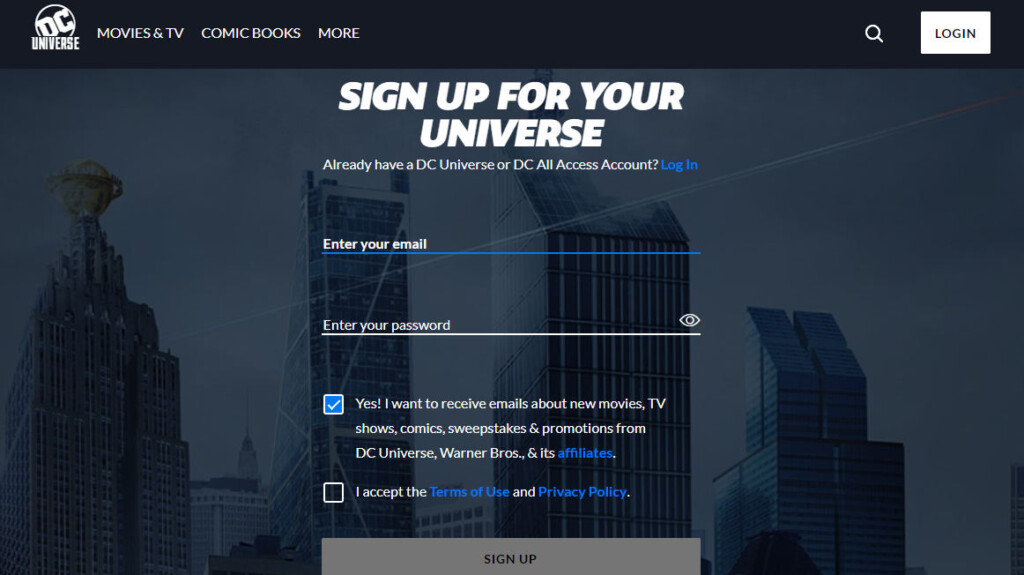 dc universe sign up