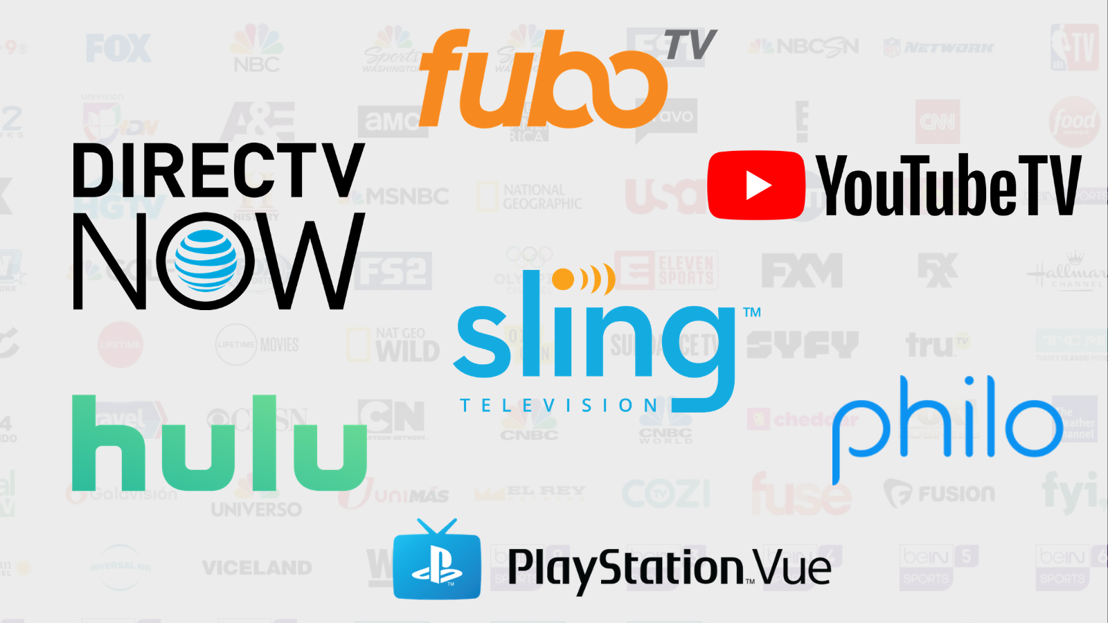 fuboTV vs  Sling vs  Vue vs  DirecTV Now vs  YouTube TV