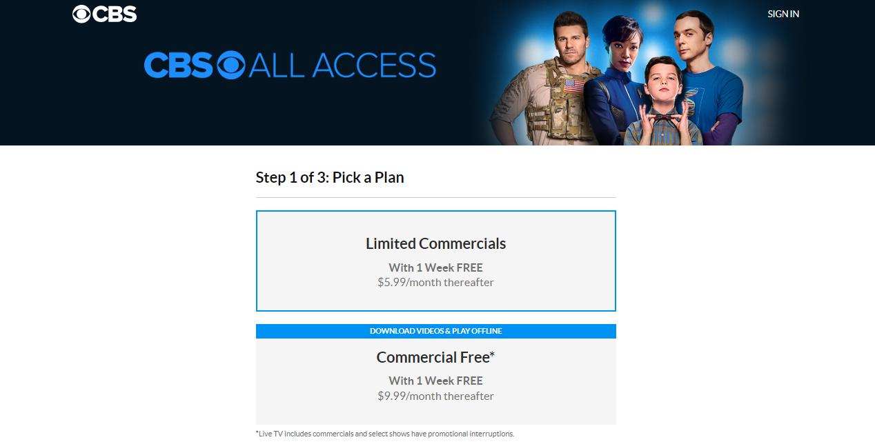CBS All Access plans