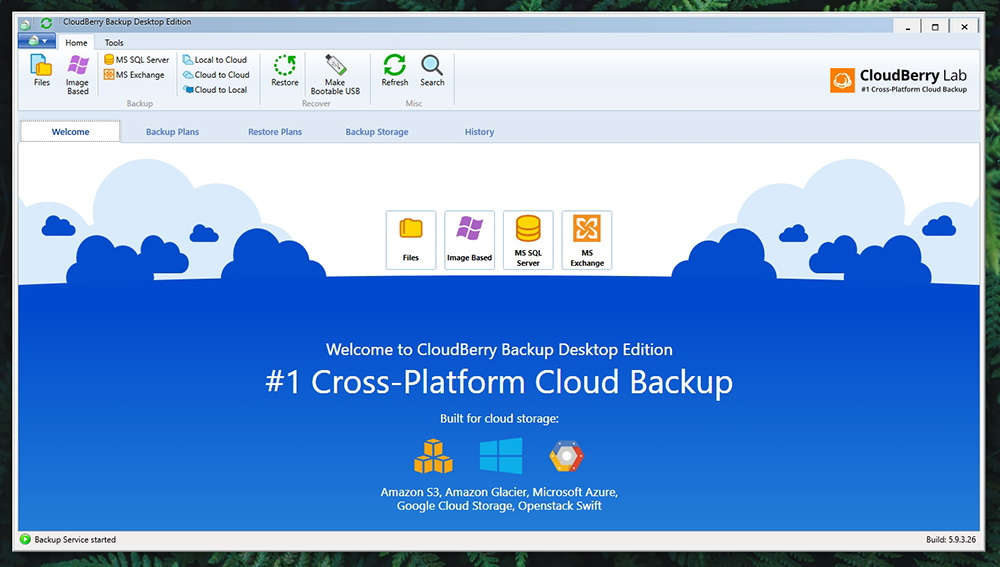 CloudBerry Backup - Interface
